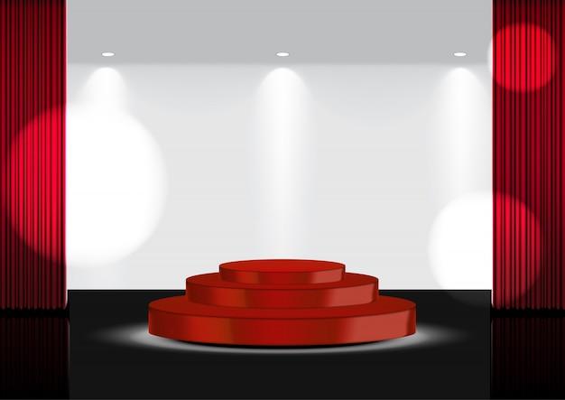 Realistisch 3d open rood gordijn rood award podium of bioscoop voor show, concert of presentatie met spotlight-illustratie