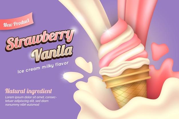 Realistisch aardbeien- en vanille-ijs