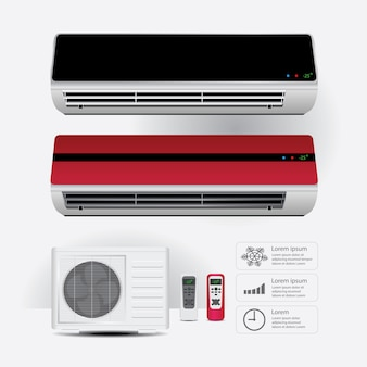 Realistisch airconditioner en afstandsbediening met koude lucht symbolen vectorillustratie