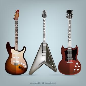 Realistisch assortiment van drie elektrische gitaren