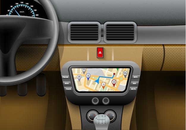 Realistisch autobinnenland met autonavigatiesysteem en gps kaart