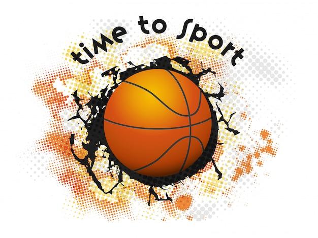 Realistisch basketbal op zwarte crack halftone effect achtergrond voor tijd tot sport.