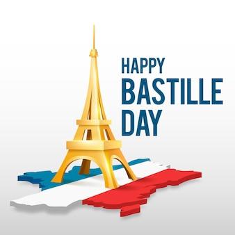 Realistisch bastille-dagconcept