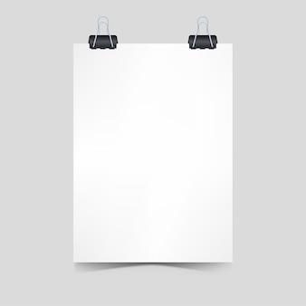 Realistisch blanco papier met clip papier poster concept voor promotie 3d illustratie