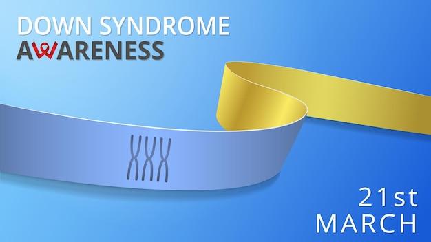 Realistisch blauw en geel lint. awareness down syndroom maand poster. vector illustratie. wereld down syndroom dag solidariteit concept. 21 maart. blauwe achtergrond. drie paar chromosomen.