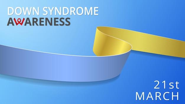 Realistisch blauw en geel lint. awareness down syndroom maand poster. vector illustratie. wereld down syndroom dag solidariteit concept. 21 maart. blauwe achtergrond.