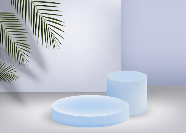 Realistisch blauw productpodium met ronde boog van kokosnootblad, palmblad