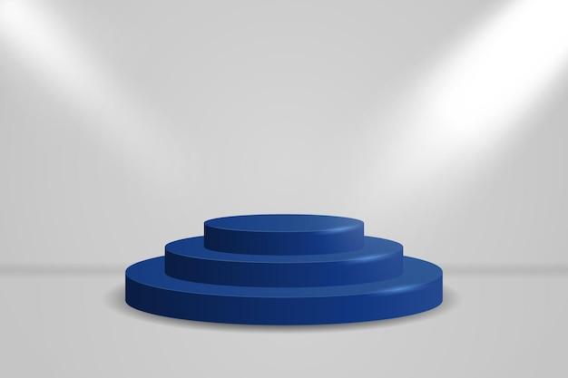 Realistisch blauw rond vertoningspodium. minimale scène met verlichte schijnwerpers van cilinderplatform.