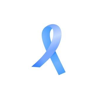 Realistisch blauw satijnen lint dat op witte achtergrond wordt geïsoleerd. nationale prostaatkanker awareness maand concept.
