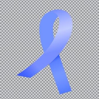 Realistisch blauw satijnen lint geïsoleerd op op een transparante achtergrond... national prostate cancer awareness month concept.