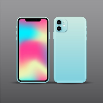Realistisch blauw smartphoneontwerp met twee camera's