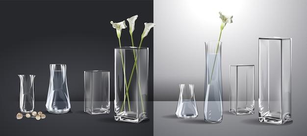 Realistisch boeket bloemen in een glas water lege glazen vaas realistische mockup