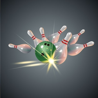 Realistisch bowling staking concept op donkergrijze achtergrond. bowling staking met bal