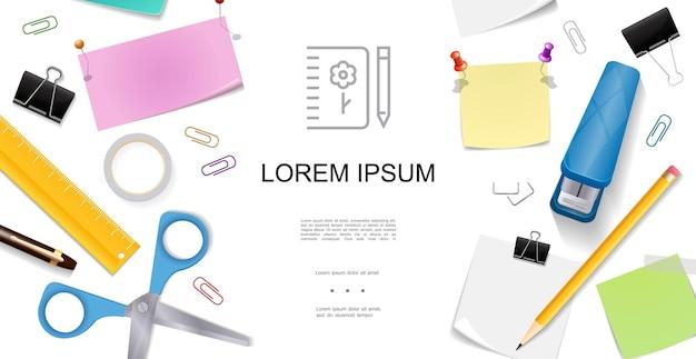 Realistisch briefpapier concept met kleurrijke vellen liniaal schaar pushpins potlood pen nietmachine plakband bindmiddel clips stickers illustratie,