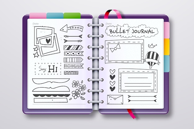 Realistisch bullet journal met doodle tekeningen