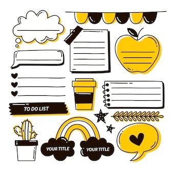 Realistisch bullet journal met doodles en tekeningen