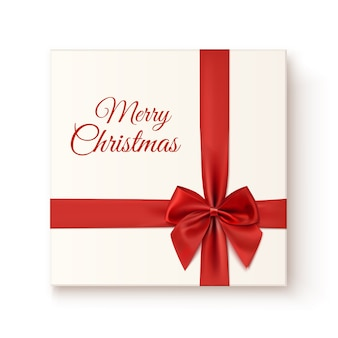 Realistisch cadeau pictogram geïsoleerd op een witte achtergrond, bovenaanzicht. merry christmas wenskaartsjabloon.