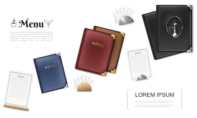 Realistisch cafémenu omvat sjabloon met kaarten en servetten met metalen en houten houders