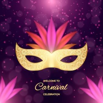 Realistisch carnaval met masker en glitter