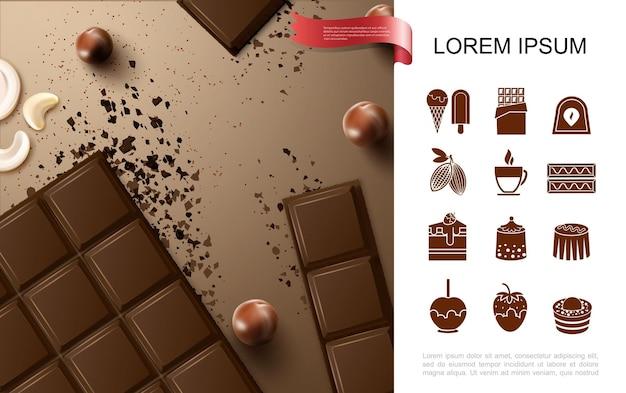 Realistisch chocoladerepenconcept met noten en vlakke pictogrammen van zoete chocoladeproducten