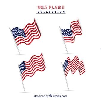 Realistisch collectie van amerikaanse vlaggen