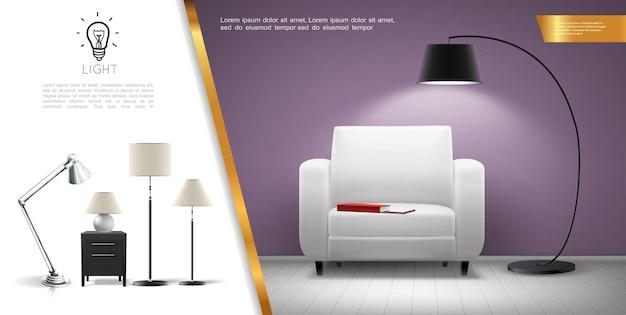 Realistisch concept van huisverlichtingsapparatuur met fauteuil glanzende vloer- en tafellampen