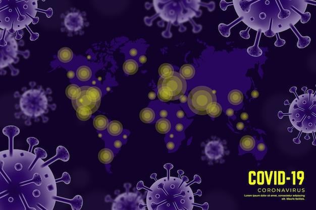 Realistisch coronavirus met kaart