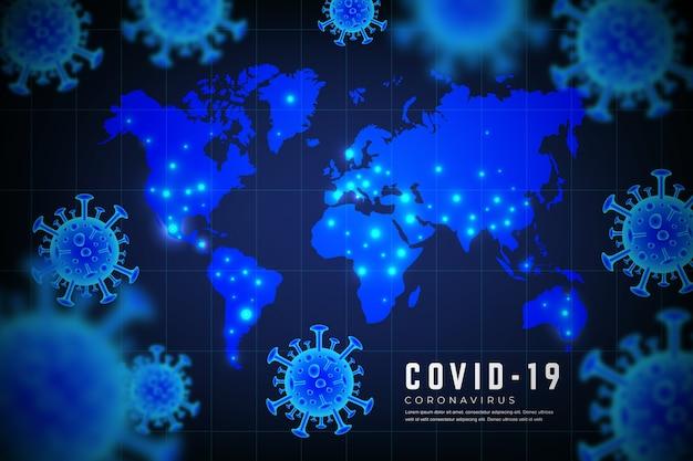 Realistisch coronavirus met kaartconcept