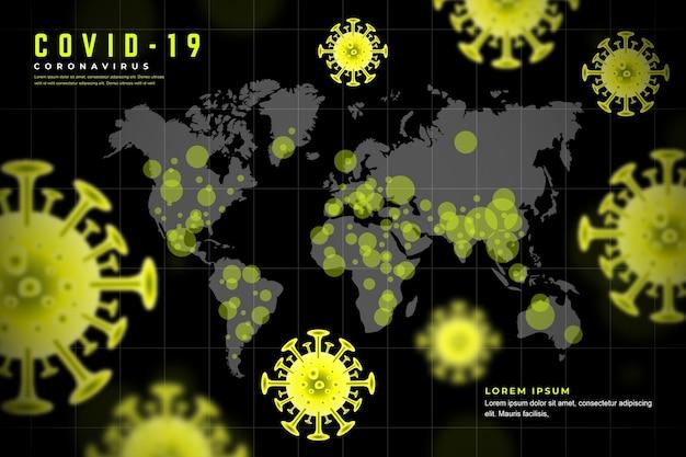 Realistisch coronavirus met kaartthema