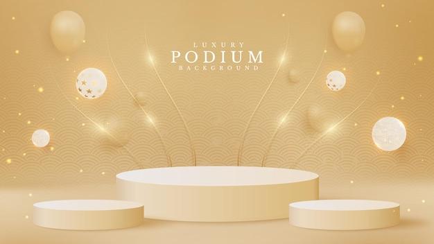 Realistisch crèmekleurig productpodium met gouden lijnen schittering en elegante bal. luxe 3d-stijl achtergrond concept. vectorillustratie voor het bevorderen van verkoop en marketing.