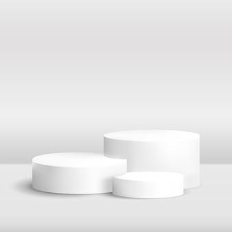 Realistisch d rond podium voor productdemonstratie cilinderplatform met tropische schaduw-overlay-effect blauwe achtergrond