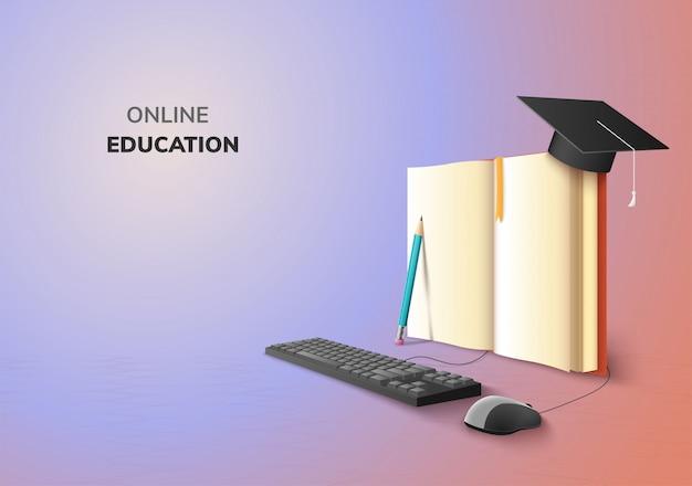 Realistisch digitaal online concept. onderwijs applicatie leren op verloop website achtergrond. decor door boek lezing potlood computermuis toetsenbord afstuderen hoed. 3d illustratie kopie ruimte