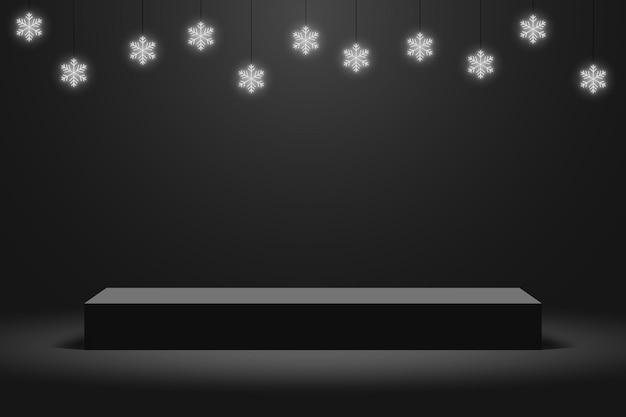 Realistisch donker platform met hangend gloeiend neon sneeuwvlokken podium met leeg voetstuk