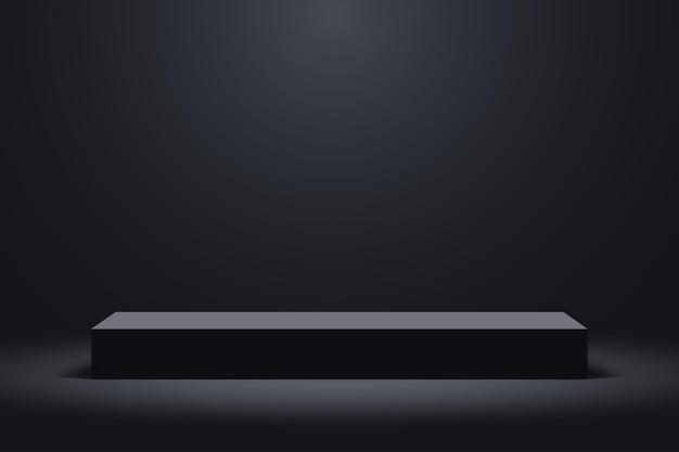 Realistisch donker platformpodium met leeg voetstuk 3d podium voor productvertoningsshow