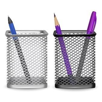 Realistisch eenvoudig potlood en twee pennen, kantoor en briefpapier in de mand op witte achtergrond, illustratie