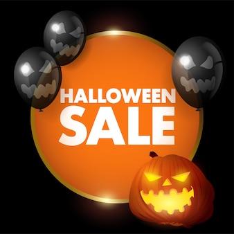 Realistisch en luxueus halloween-verkooppictogram met gouden frame en decoratieve ballonnen, eps-10 vectorillustratie