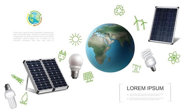 Realistisch energiebesparingssjabloon met zonnepanelen van de planeet aarde, gloeilampen, elektriciteit en energie groene pictogrammen