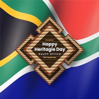 Realistisch erfenisdagbeeld met de vlag van zuid-afrika
