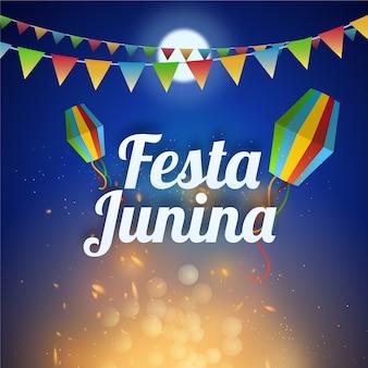 Realistisch festa junina kampvuur en volle maan