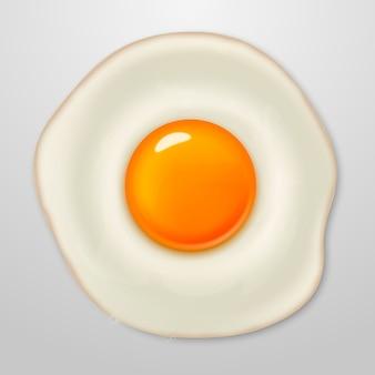 Realistisch gebakken eipictogram op wit