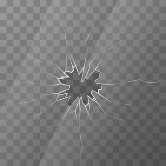 Realistisch gebroken glas op transparante achtergrond