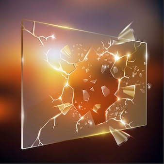 Realistisch gebroken glas