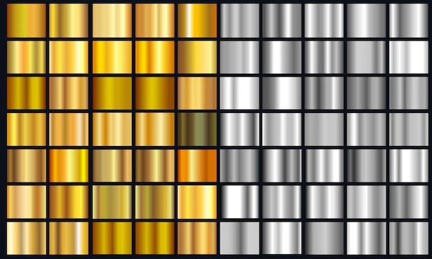 Realistisch geel en zilverkleurig textuurpakket. glanzende gouden metalen folie verloopset