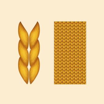 Realistisch geel gebreid geïsoleerd op beige