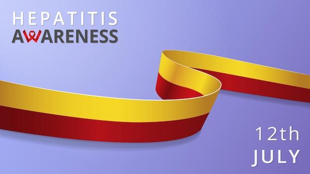 Realistisch geel rood lint. bewustzijn hepatitis c maand poster. vector illustratie. wereld hepatitis dag solidariteit concept.