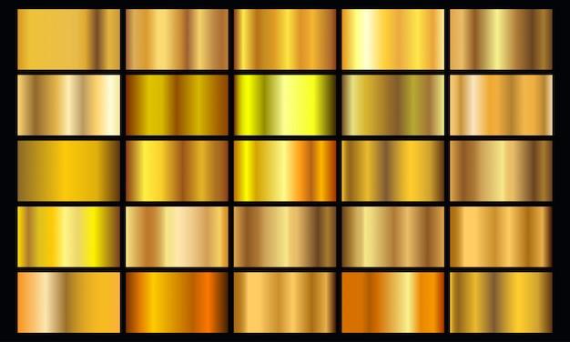 Realistisch geel verloop textuur pack. glanzende gouden metalen folie verloopset