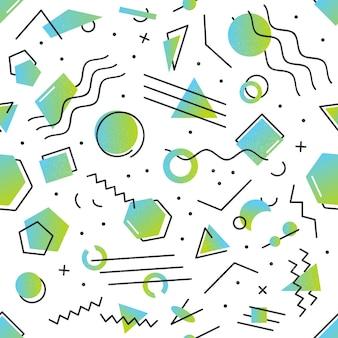 Realistisch geïsoleerd naadloos patroon met het ontwerp van memphis met abstracte gradiënt geometrische vormen voor decoratie op de witte achtergrond.