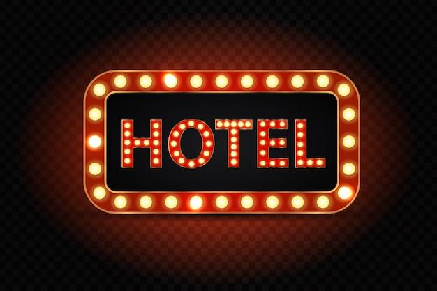 Realistisch geïsoleerd neon hoteltekenbord voor decoratie en bedekking op de transparante achtergrond.