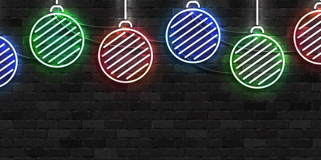 Realistisch geïsoleerd neon teken van kerstballen voor prettige kerstdagen en gelukkig nieuwjaar voor uitnodigingsdecoratie