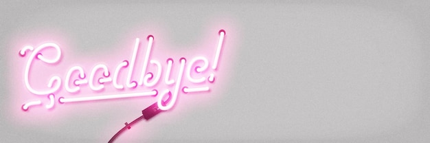 Realistisch geïsoleerd neonreclame van goodbye-logo met kopie ruimte voor sjabloondecoratie en mockup-bekleding op de witte achtergrond